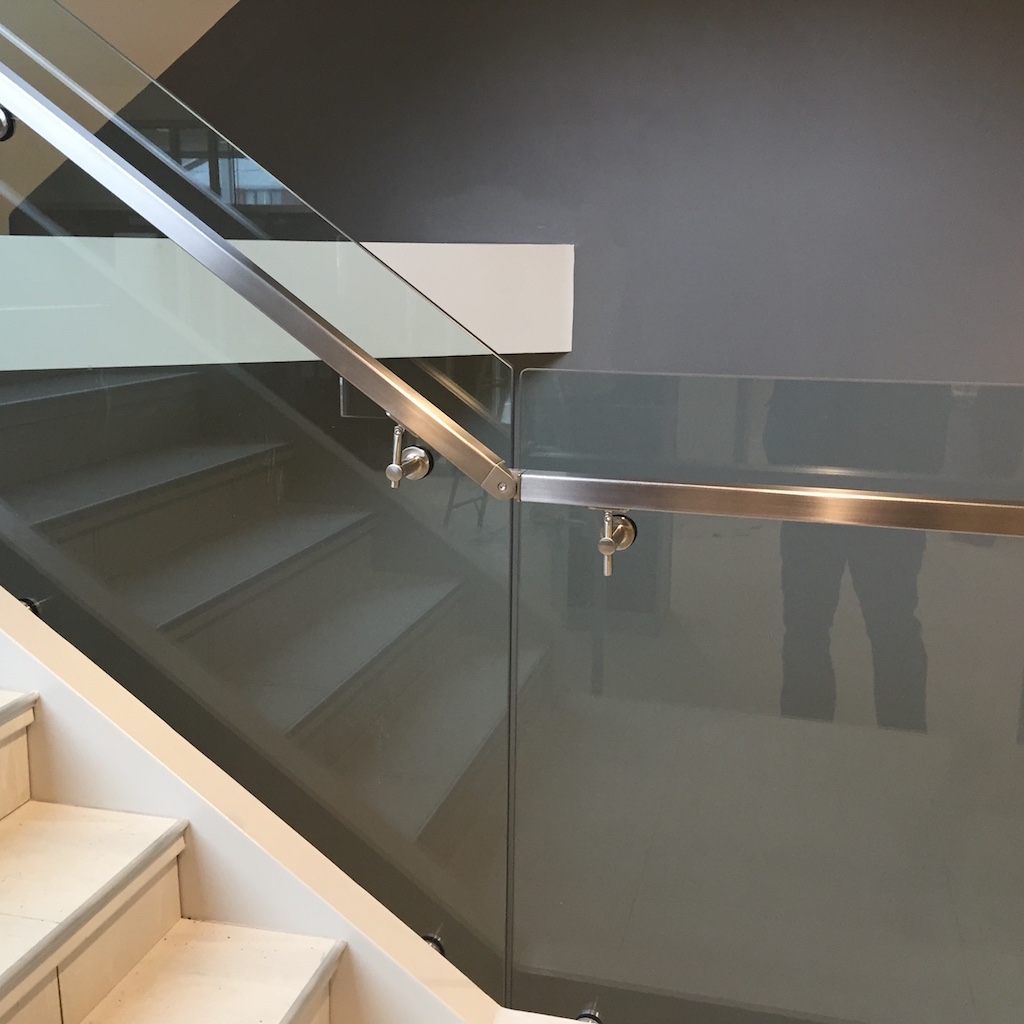 Gallery interior glass stainless steel railings innovative metal works for Stainless steel railings interior